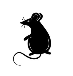 black silhouette a rat or mouse on a white vector image