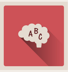 Brain thinking in language on red background with vector