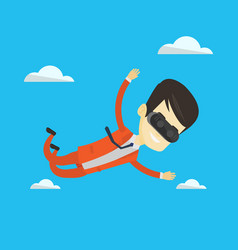businessman in vr headset flying in the sky vector image