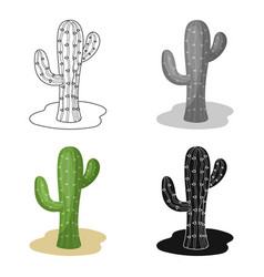 cactus icon in cartoon style isolated on white vector image
