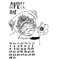 Calendar with dry brush lettering april 2018 dog vector