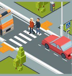 care person crossing street urban city crosswalk vector image