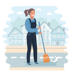 Cartoon character girl holding a broom vector