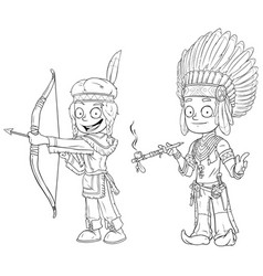 cartoon indian chief young warrior character set vector image