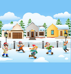 Cartoon kids playing in the snowing village vector