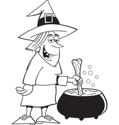 Cartoon Witch with Cauldron vector