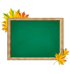 Chalkboard and autumn leaves vector