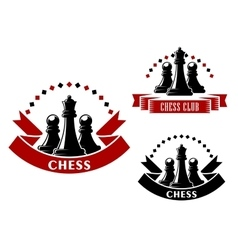 Chess game icons with black queens and pawns vector image