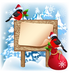 Christmas wooden signboard with bullfinches vector