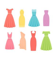 cocktail dresses for women female textile flat vector image
