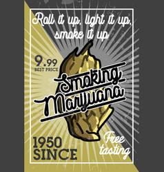 Color vintage marijuana banner vector