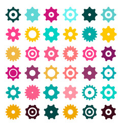 colorful cogs - gears cog gear icons set isolated vector image