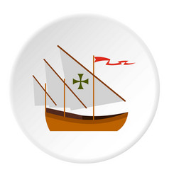 columbus ship icon circle vector image