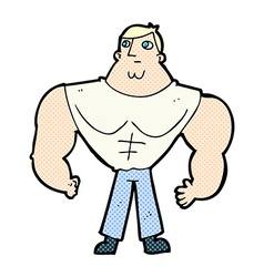 comic cartoon body builder vector image