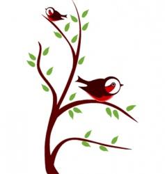 cute birds on tree vector image
