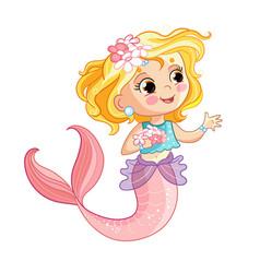 cute blonde mermaid and flowers cartoon vector image