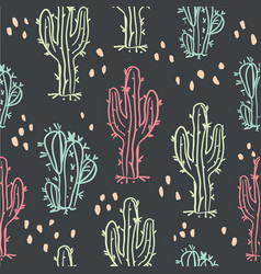 cute hand drawn cactuses and succulents pattern vector image