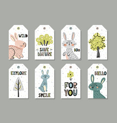 cute rabbits gift tags set in scandinavian style vector image