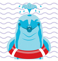 dolphin with lifebuoy on a striped background vector image