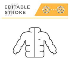 down jacket editable stroke line icon vector image