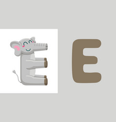 e is for elephant letter e elephant cute vector image