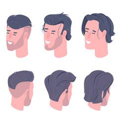 Flat design isometric men character heads vector