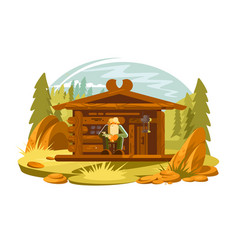 forester sitting on porch vector image