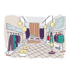Freehand drawing of clothing boutique interior vector