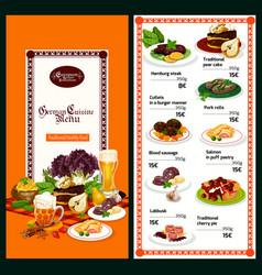 german restaurant menu with bavarian cuisine dish vector image