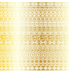Gold ornate border patterns vector