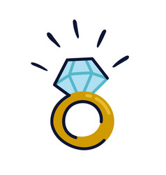 Golden engagement ring icon in flat style wedding vector
