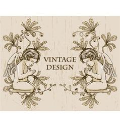 Grunge floral frame with angels vector