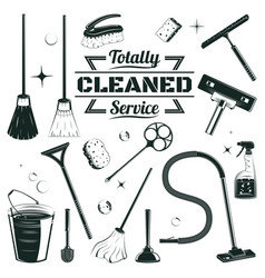 Hand drawn cleaning elements set vector