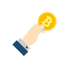 hand with bitcoin flat icon vector image