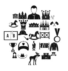 horsemanship icons set simple style vector image