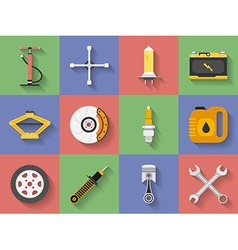 Icon set of Car repair parts car service Flat vector image