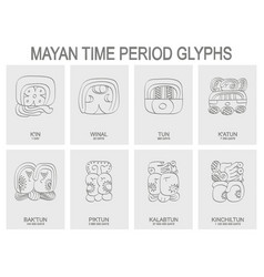 icon set with mayan time period vector image