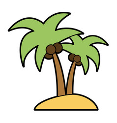 Isolated island with palm tree icon image vector