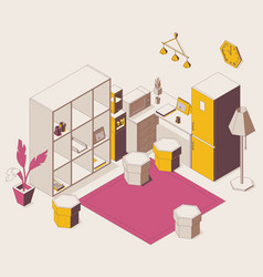 Isometric full color outline concept scene kitchen vector