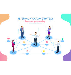 isometric referral marketing network marketing vector image