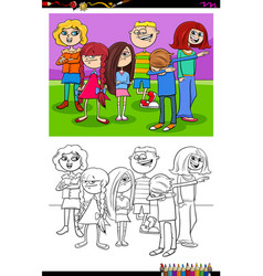 kids and teens characters group color book vector image