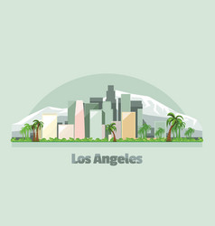 los angeles city skyline in usa vector image