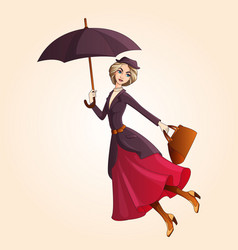 Marry poppins a novel character flying on umbrella vector