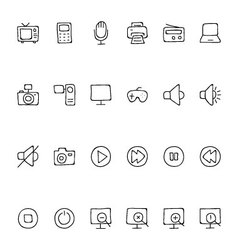 Media Hand Drawn Doodle Icons 1 vector
