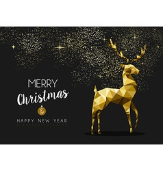 Merry christmas happy new year gold deer origami vector