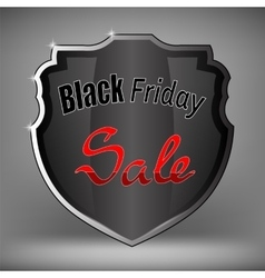 Metal Grey Shield of Black Friday Sale vector