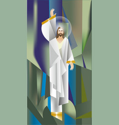 Mosaic with christ vector