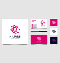 nature flower logo premium with business card vector image