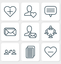 network icons set with unread letter vector image
