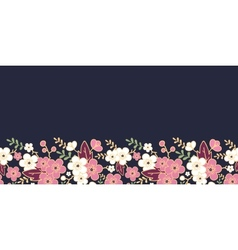Night garden sakura blossoms horizontal seamless vector image